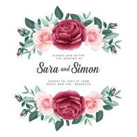 modèle de carte de mariage bannière floral roses vecteur