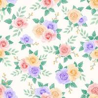 modèle sans couture de roses de couleur douce vecteur