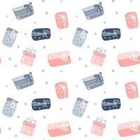 texture transparente motif avec coffrets cadeaux dessinés à la main vecteur