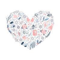 Éléments de motif d'ornement de noël en forme de coeur