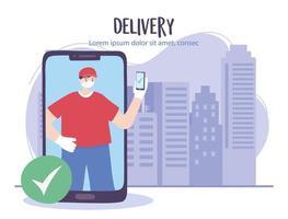 service de livraison en ligne avec messager et smartphone vecteur