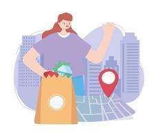 service de livraison en ligne avec femme et épicerie vecteur