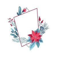 cadre de polygone géométrique avec décoration de bouquet