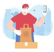 service de livraison de nourriture en ligne vecteur