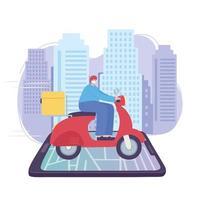 livraison en ligne avec service de messagerie moto vecteur