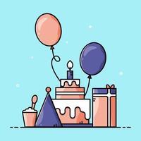 ensemble d'articles d'anniversaire de dessin animé mignon