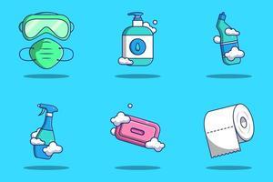 jeu d'icônes de dessin animé de matériaux de protection contre les coronavirus