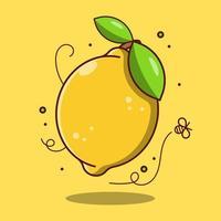 fruit de citron frais de dessin animé mignon vecteur