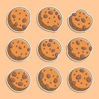 ensemble de cookies de style dessin animé mignon vecteur