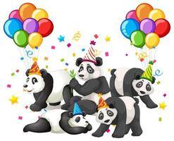 groupe de panda de dessin animé dans le thème de la fête