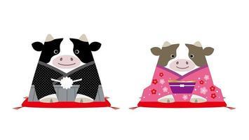 mascottes de l'année du bœuf vecteur