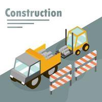 bannière de construction isométrique