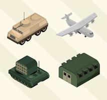 jeu d'icônes militaires isométriques