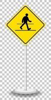 panneau d'avertissement de trafic jaune isolé