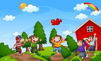 cinq petits singes sautant dans la ferme