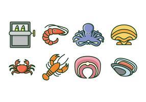 Icônes gratuites de fruits de mer vecteur