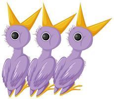 personnage de dessin animé de poussins violets vecteur