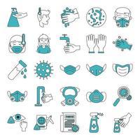 jeu d'icônes de coronavirus et infection virale