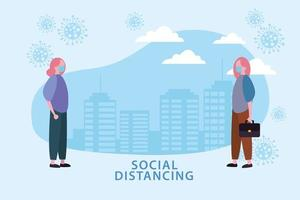 affiche de distanciation sociale avec des femmes masquées et des cellules à l'extérieur