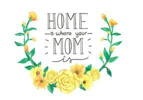 Belles fleurs et Lettrage Pour la fête des mères Couronne jaune