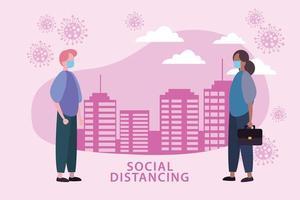 affiche de distanciation sociale avec des personnes masquées et des cellules à l'extérieur