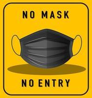 pas de masque pas de panneau d'avertissement d'entrée avec masque
