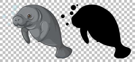 lamantin avec sa silhouette