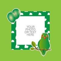 cadre photo avec oiseau d'amour de dessin animé et ballons