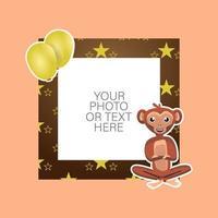 cadre photo avec singe de dessin animé et ballons