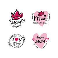 collection d'étiquettes de fête des mères vecteur