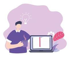 formation en ligne, gars avec page d'accueil pour ordinateur portable et tasse de café