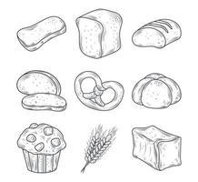 jeu d'icônes de produits de boulangerie
