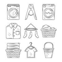 éléments de blanchisserie et jeu d'icônes de vêtements
