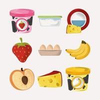 ensemble de nourriture de dessin animé vecteur