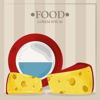 bannière de modèle alimentaire avec du fromage vecteur