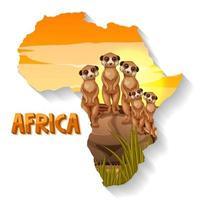 Carte de scène d'animaux sauvages en forme d'Afrique