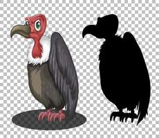 Personnage de dessin animé de vautour fauve avec sa silhouette