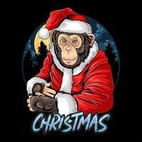 singe chimpanzé de Noël vecteur