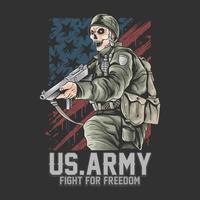 L'armée américaine se bat pour la liberté avec un soldat crâne vecteur