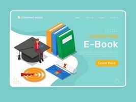 page de destination du livre électronique vecteur