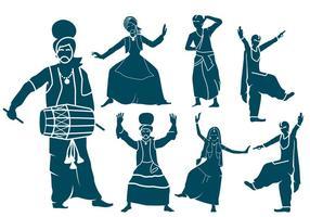 Punjabi Dancers Silhouettes vecteur