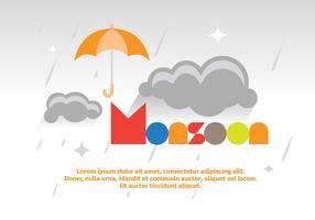 Lumineux Vecteur Fun Monsoon Affiche