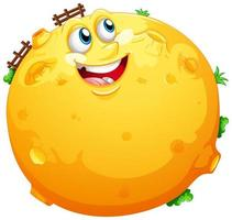 lune jaune avec visage heureux