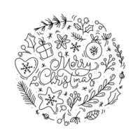 lettrage calligraphique joyeux noël avec des éléments d'hiver