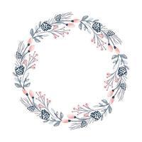 guirlande de fleurs de Noël et baies rouges vecteur