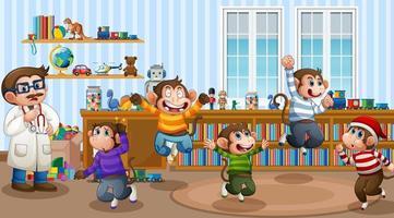 cinq petits singes sautant dans la scène de la pièce