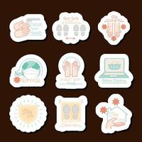 nouveau jeu d'icônes d'autocollant de coronavirus normal