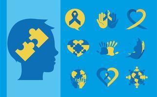 jeu d'icônes de pictogramme journée mondiale de la trisomie 21