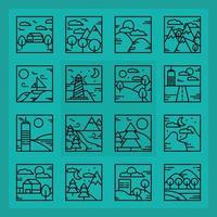 collection d'icônes de contour paysage carré