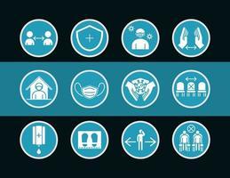 jeu d'icônes de pictogramme de prévention des coronavirus
